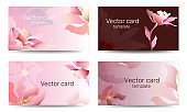 Business card template in pink shades with floral ornament. Text frame. Abstract geometric banner.