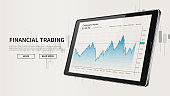 Tablet with stock market candlestick graph advertising web banner