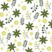 Light seamless pattern for home textiles. Green and yellow flowers on a white background for fabric.