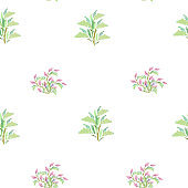 Light pattern of contour branches with leaves and flowers. Elegant natural ornament on a white background. Vintage texture for decoration of fabric, tile and paper and wallpaper on the wall.