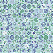 Geometric abstract mosaic background. Seamless vector pattern of shapes and lines in green colors.
