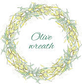 Olive wreath cut on white. Vector illustration for decoration of menus, kitchen textiles and paper.