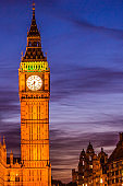 Big Ben Clock Tower at night - London travel. Parliament house at city of Westminster, London, England, Great Britain, UK. Europe travel destination