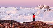 Global warming - Greenland Iceberg landscape of Ilulissat icefjord with icebergs