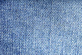 Jeans texture background - worn jean pants fabric of blue washed denim textile. Closeup of fashion cotton weave for background or copy space.