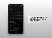 Vector Design Template Dark Mode Calendar App UI UX Concept Page May 2020