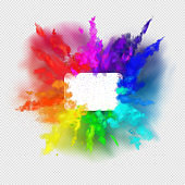 Rainbow colors paint powder and drops. Holi festival invitation. Transparent different clouds of paint powder isolated on light gray background. The real effect of transparency. Vector illustration EPS10