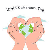 world environtmant day, human hands hold the planet concept