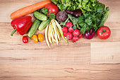Fresh vegetables as food containing vitamins. Healthy lifestyles and nutrition. Place for text