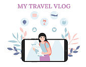 travel vlog, girl with map, concept phone