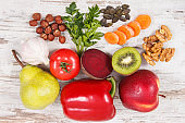Food for kidneys health and gout inflammation. Healthy eating as source vitamins