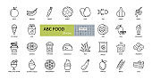 Vector icons the ABC's of food. Editable Stroke. Food in alphabetical order. Vegetables, fruits, fast food, sweets, fish, cocktail, bread, honey and jam