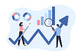 Concept of web analytics, search engine optimization. The team of merchants analyzes sales, visitors, increases efficiency. A woman with a pencil, a man with a magnifying glass. Flat vector