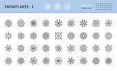 Vector snowflake icons. Editable stroke set. 36x36 pixels. Symbols white background stock illustration. Different six and eight-pointed snowflakes