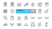 Laundry icon. Vector set of 25 icons with editable stroke. The collection includes a washing machine, gloves, clothes pegs, clean and dirty linen, washing powder, drying clothes, a hanger and an iron.