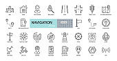 Vector navigation icons. Editable Stroke. Images of land, air, sea navigation. Road, route, map, stop sign, satellite, globe, radar, GPS, compass, application