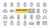 Badge award set icons. A collection of 25 linear images with an editable stroke. Medals with a star, a heart, on a garter, with a ribbon, a podium, a sports cup. Flat vector illustration on white back