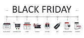 Vector banner Black Friday. Holiday sale icons with editable strokes. Black and red. Gift box sale online shopping payment. Shopping cart calendar store coupon