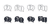 Vector questions answer icons. Question and exclamation mark. Linear filled marks editable strokes. Q and A speech bubble symbols. Support solution assistant FAQ chat