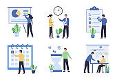 Collection of office work concepts. Task scheduling and performance analysis. Successful time management multitasking. Compliance with rules and regulations. Flat vector illustration