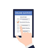 Smartphone screen and online survey. The male hand selects one answer from the ones listed. Filling an online test through the Internet, questionnaires. Flat vector illustration isolated on white back