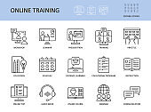 Online training vector icons. Set with editable stroke. Workshop practice guide instruction. Calendar schedule education seminar presentation test communication webinar course audio book