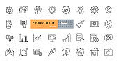 Productivity vector icons. Set line icons with editable stroke. Business planning, success, goal achievement. Charts, communication, chat, speedometer