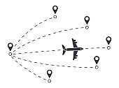 Vector flight path of an airplane from one point to another, airport. Dotted line with aircraft silhouette and direction of travel. Stock illustration on white background