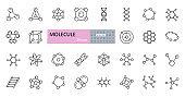 Vector molecule icons. Set of editable stroke icons. Molecule structure, chemical bonds, atom, scientific research, electron orbit, DNA chain, elements