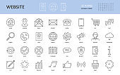 Website icons. Vector editable stroke icon. Home email address world info call search user service. Security contact print mobile notice time phone buy chat wifi support download music statistic check