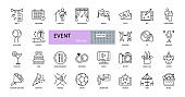 Event vector icons. Editable Stroke. Entertainment, party concert scenery, music video, wedding gifts, dancing, DJ. Food drinks, flowers, sport tickets, picnic tent