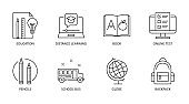 Back to school icons. Vector editable stroke icon. Education online test distance learning book. School bus globe pencils