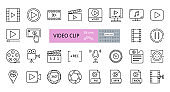 Video clip set of 28 icons with editable stroke. Vector illustration of sound recording, play, watching videos, listening to music, cutting frames, file folders, MP4, AVI, 360 panoramic view.