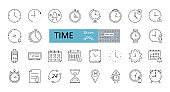 Set of 28 time icons with editable stroke. Linear icon of clock, wall, cuckoo, hourglass, fitness tracker, alarm clock, calendar with event reminder, stopwatch. Vector illustration on white background