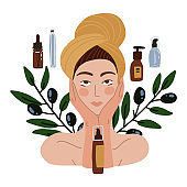 Beautiful girl with towel on her head. Olive oil natural cosmetics. DIY concept Young woman with many organic cosmetics tubes. Vector flay Illustration