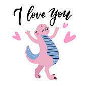 I love you - funny hand drawn doodle dinosaur , cartoon dino. Good for Poster or t-shirt textile graphic design. Vector hand drawn illustration for Valentine s day