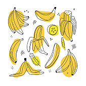 Set of banana linear icons on white background. Line doodle drawing style with abstract shapes.