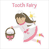 Cute flying tooth fairy vector icon isolated on white background. Kawaii fantasy princess with basket full of smiling teeth. Funny dental care picture for kids. Dentist baby clinic clipart