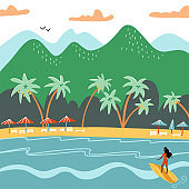 Beach summer landscape. Tourist sunbeds on the coast, umbrellas and palms near the mountains. Vacation, relaxation, ocean, sun, palms. Surfing girl. Vector flat illustration