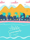 Hello summer lettering quote. holiday and tropical vacation poster or greeting card. Tourist sunbeds on the coast, umbrellas and palms near the mountains. Vector flat illustartion design