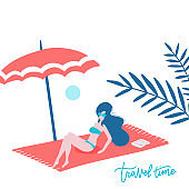 Beautiful cute happy tan woman lying on the beach towel under an umbrella with unglasses. White sand coast. Rest alone in a tropical hot sunny place. Blank space for text, message, ad. Vector flat