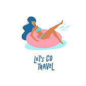 Pretty girl on swimming ring. Women relaxing in a pool or sea with resting on inflatable pink donut mattress. Let's go travel lettering text. Vector flat cartoon illustration