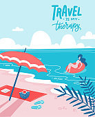 Young woman on beautiful palm beach on swim rubber ring. Sandy beach with an umbrella and a spread towel. Summer holiday flat vector illustration with lettering Travel is my therapy