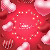 Happy Valentine s Day holiday card. Vector illustration with 3d red and pink air balloons, glowing garlands with bulbs and hand lettering quote - I love you