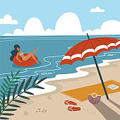 Tropical landscape. Palm trees and tropical plants. Seascape. Beach towel with umbrella on the beach. Woman in swimwear floating on rubber ring in sea waves. Flat vector illustration