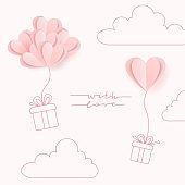 Paper art style of valentine's day greeting card and love concept. Couple of line art gift boxes ballooning up on heart balloons heart shape on gentle pink sky.Vector illustration.