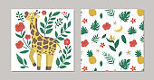 Set of vector summer pre-made designs with tropical animal, plants and flowers. Funny exotic square gift card templates with cute jungle characters. Giraffe with leaves and hibiscus flowers