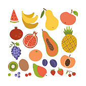 Simple cute fruit icon collection. Set of coroful summer tasty fruits. Cartoon flat style illustration.