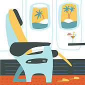 The passenger seat in airplane business class. Cocktail on the site of the chair. Tropical vacation. Summer travelling concept. Vector flat cartoon illustration.