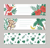 Set of vector summer horizontal layout card templates with tropical animals, plants, flowers, fruit. Funny exotic pre-made designs with cute jungle characters and pattern.